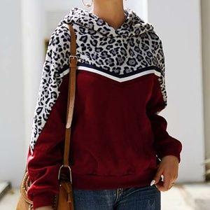 Tops - ❣Maroon & Gray Leopard Hooded Pullover Sweatshirt❣